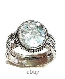 Roman Glass Ring S. Silver 925 Authentic Fragments 200 B. C Bluish Patina S8