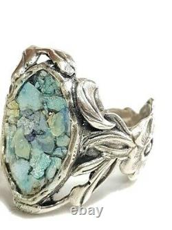Roman Glass Ring Silver 925 Ancient Antique Fragment 200 BC Bluish Patina Size8
