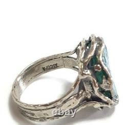 Roman Glass Ring Silver 925 Ancient Fragment 200 BC Bluish Patina Size8 Israel