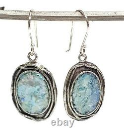 Roman Glass S/Silver Earrings 925 Ancient Patina 200 B. C Israeli Silver Jewelry