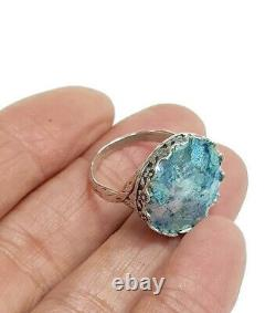 Roman Glass S. Silver Round Ring Fragments 925 Ancient 200 BC Bluish Patina S7