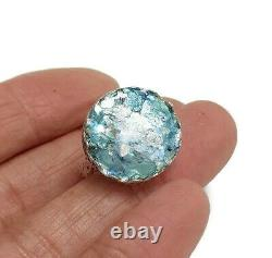 Roman Glass S. Silver Round Ring Fragments 925 Ancient 200 BC Bluish Patina S9