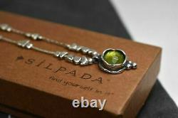 SILPADA N1461 Sterling Silver Beads Green Glass Pendant Necklace RET