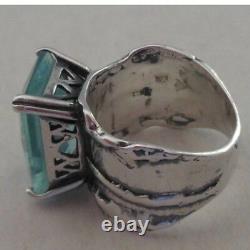 SILPADA Sterling Silver Aqua Blue Glass Statement Ring Size 10 R1608 WOW