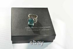 SILPADA Sterling Silver Aqua Blue Glass Statement Ring Size 8 R1608