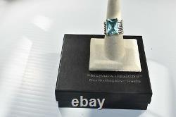 SILPADA Sterling Silver Aqua Blue Glass Statement Ring Size 8 R1608 MINT WOW