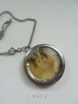 SOB Co. Victorian GLASS- STERLING SILVER Locket & Photo Badge