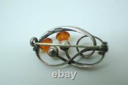 STERLING SILVER & Citrine GLASS THISTLE BROOCH PIN CHARLES HORNER 1911