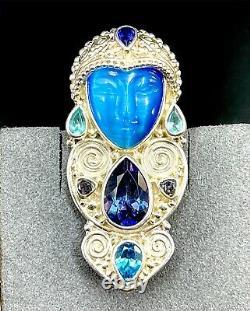 Sajen 925 Sterling Blue Fiber Optic Glass Sapphire Spinel Goddess Brooch Pendant