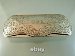 Scroll Engraved Eye Glass Case Sterling By W&h Birmingham 1946 Wac