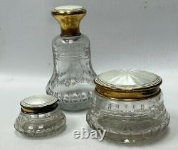Set of 3 Guilloche White Enamel Sterling Silver Cut Glass Dresser Jars