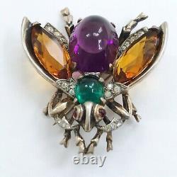 Signed Crown Trifari vintage sterling fly brooch