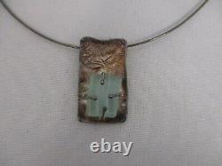 Signed Sr Luli Hamersztein Israel Sterling Silver Roman Glass Pendant Necklace