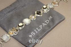 Silpada Exemplar Sterling Silver, Pyrite, Lip Shell, Glass, C. Z. Bracelet B2790