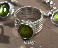Silpada Green Glass Sterling Silver Ring Sz 8 R1463 Beautiful