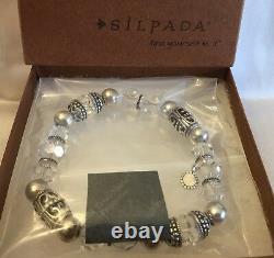 Silpada RARE HTF B2413 Sterling Silver Crystal Glass Stretch Bead Bracelet MINT
