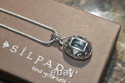 Silpada RARE HTF Retired N2198 Sterling Silver Aqua Glass Necklace