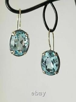 Silpada Sterling Silver Aqua Blue Glass Filigree Earrings W2177 Mint Elegant