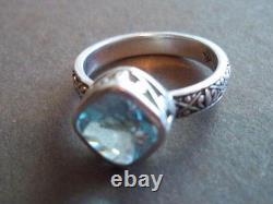 Silpada Sterling Silver Frozen Lake Aqua Blue Filigree Band Size 8 Ring R2044