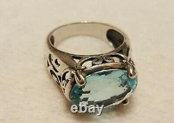 Silpada Sterling silver Aqua Glass Blue Cover Ring R2387 SZ10 HTF. Gorgeous