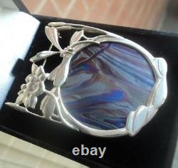 Silver Art Nouveau Dragonfly Brooch Pendant Pat Cheney / John Ditchfield Glass