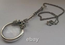 Solid Silver Ladies French Style Magnifying Glass, Antique, Silver Chain