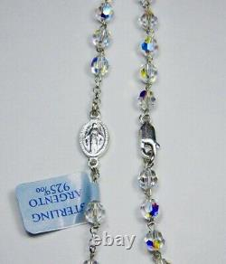 Spectacular Rosary Necklace Sterling Silver with Swarovski Crystal Beads