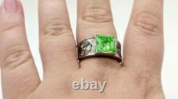 Sterling Men's Uranium Glass Radioactive Symbol Ring 925 Silver Vaseline Glass