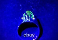 Sterling Size 11 Uranium Glass Harlequin Art Glass Ring Men's Unisex 925 Silver