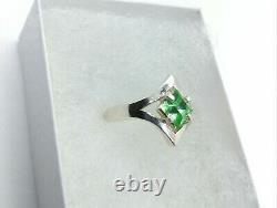 Sterling Size 7 Uranium Glass Elvish Ring 925 Silver Vaseline Glass