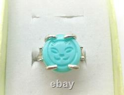 Sterling Size 7 Uranium Glass Kitty Cat Ring 925 Silver Vintage Czech