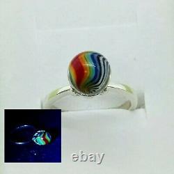 Sterling Size 7 Uranium Glass Ring Rainbow Swirl Art Glass Vaseline Glass