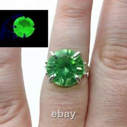 Sterling Uranium Glass Ring Size 7 Large Round Green Faceted 925 Silver