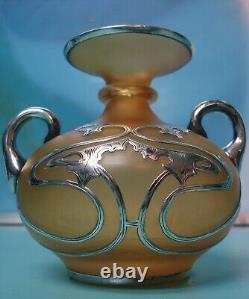 Superb Antique Loetz Kralik ART NOUVEAU sterling solid silver overlay glass vase