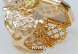 TAGLIAMONTE 14K Gold 925 Silver Purple Venetian Glass Intaglio Angel Floral Ring