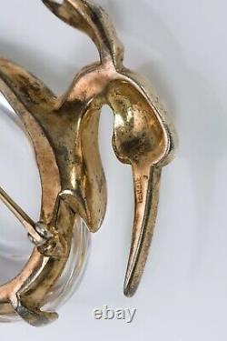 TRIFARI 1943 by Alfred Philippe Sterling Silver Jelly Belly Heron Brooch