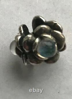 TROLLBEADS Three Flowers Bead Charm! TAGBE-00115 Sterling Silver Dichroic Glass