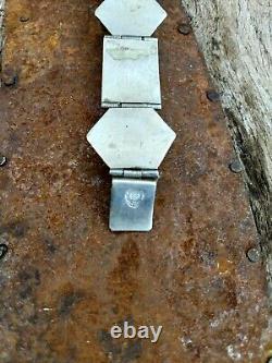 Taxco vintage sterling silver Bracelet Blue Mirror Glass Aztecs + Rectangles