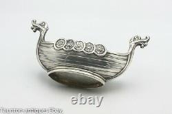 Theodor Olsens Viking Ship 925 solid sterling silver salt bowl dish glass Norway