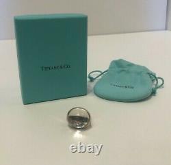 Tiffany & Co. Elsa Peretti Cabochan Glass Silver Ring Peretti Size 7