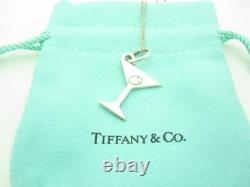 Tiffany & Co. Sterling Silver Martini Glass Olive Charm Necklace 16 Pouch A
