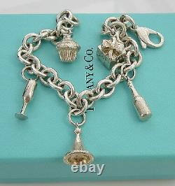 Tiffany & Co Sterling Silver PARTY Cupcake Gift Champagne Glass Charm Bracelet