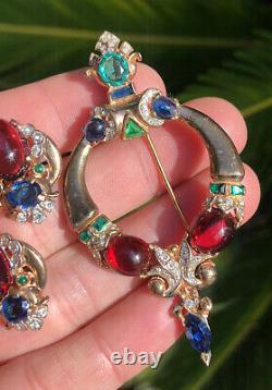 Trifari Alfred Philippe Sterling Silver Jewels Of Tanjore Brooch & Earring Set