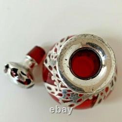 Unique Art Nouveau Cranberry Glass Perfume Bottle, Sterling Silver Overlay