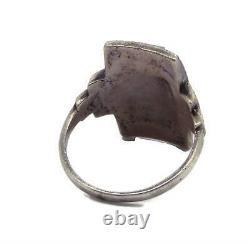 Uranium Glass Art Deco Marcasite Sterling Silver Ring