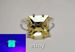 Uranium Vaseline Glass Sterling Silver Size 7 Ring Square 10mm