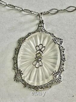 VTG 1920s Camphor Glass & diamond Necklace Sterling Filigree Paper Clip Chain
