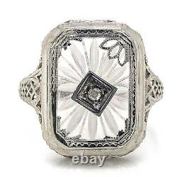 VTG Estate 10K White Gold & Camphor Glass Size 7 Ring! Gorgeous! 155