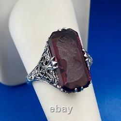 Victorian Edwardian 925 Sterling Silver Purple Art Glass Carved Cameo Ring