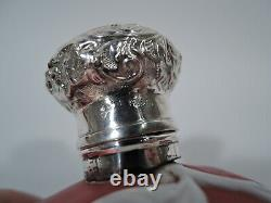 Victorian Perfume Antique Bottle English Red Cameo Glass & Sterling Silver